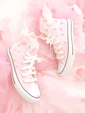 shoes,kawaii,converse,pink,pink shoes,light pink,lolita,stars,ruffle,lace,angel,heart,pastel,angels wings,pastel pink,sweet,decora,high top converse,keds,wings,cute,cute shoes,these shoes are adorable! #kawaii #pastel #pastelgoth #shoes #angel #stars #cute