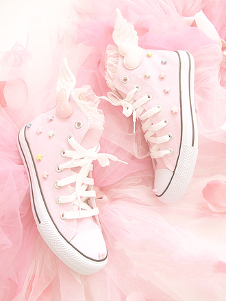 shoes kawaii converse pink pink shoes light pink sweet lolita lolita stars ruffles lace angel heart pastel angels wings pastel pink