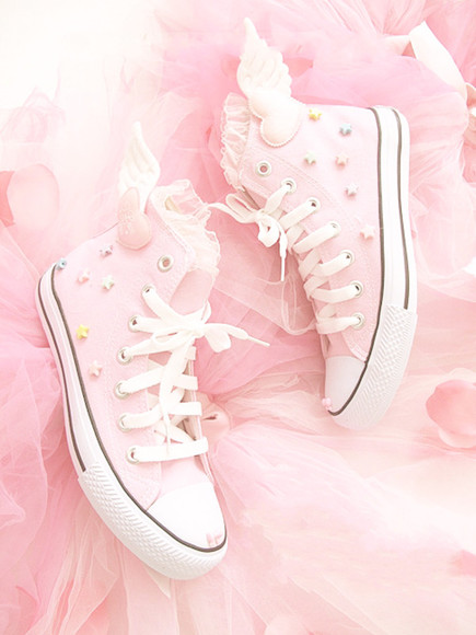 shoes pink kawaii pastel lolita converse pink shoes light pink sweet lolita stars ruffles lace angel hearts