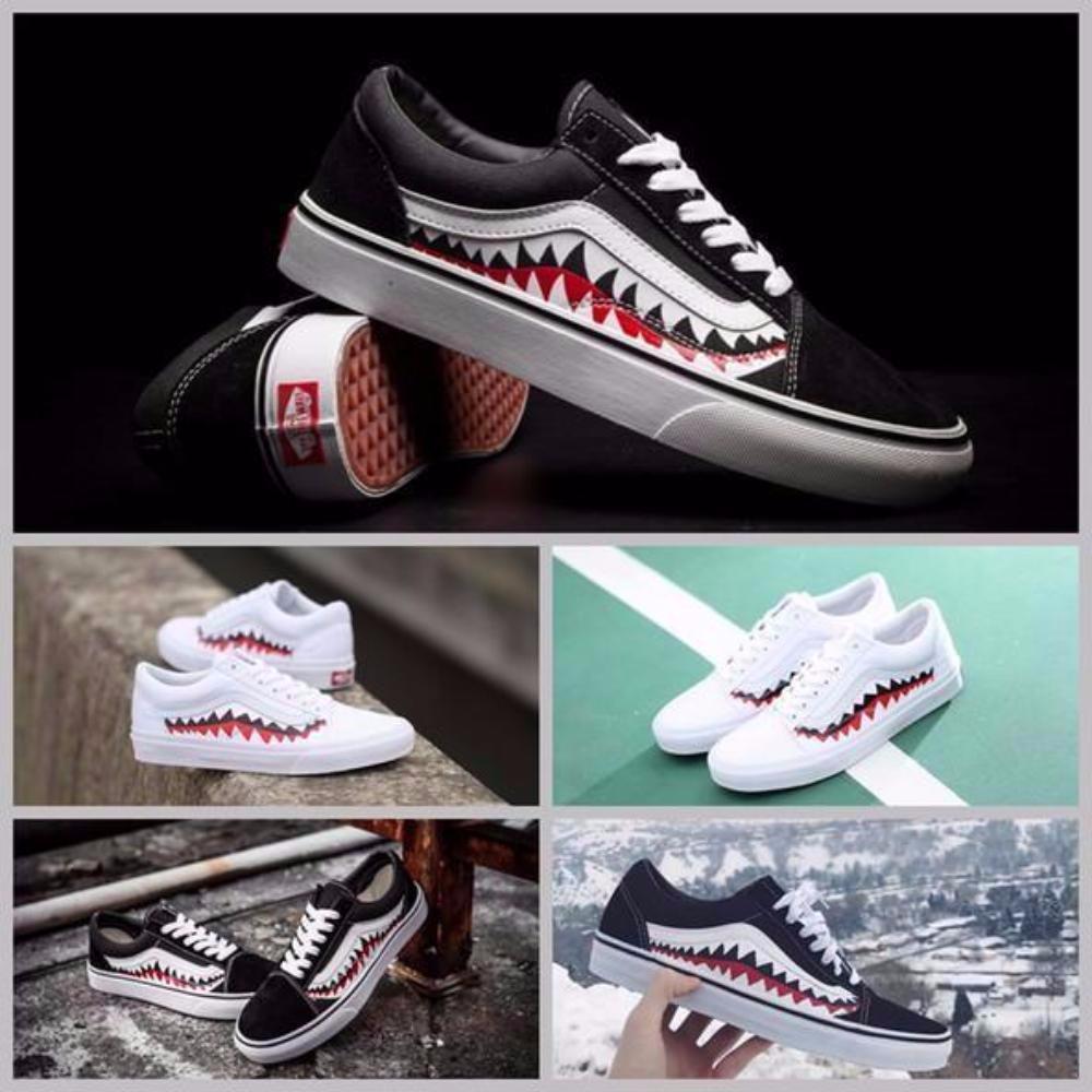 341dc9927ab899 Vans X Bape Sharktooth Custom Sneakers for Men   Women