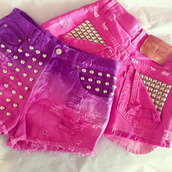shorts,pink,purple,cut off shorts,studded,ripped jeans,hipster,tie dye,dip dyed,shorts pink purple studded ombré,ombre,jeans