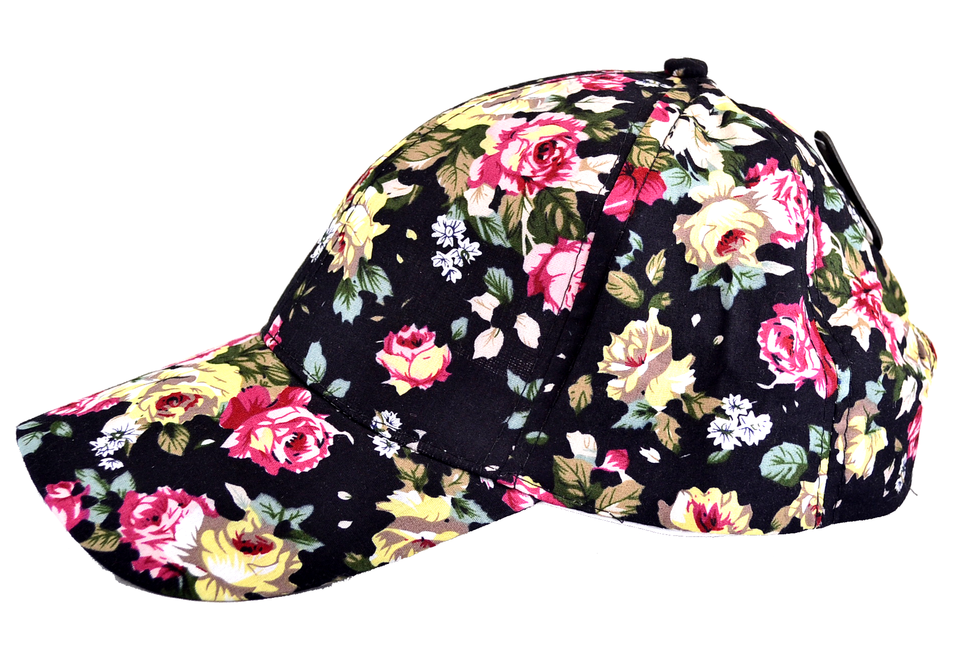 Floral Baseball Cap in Black