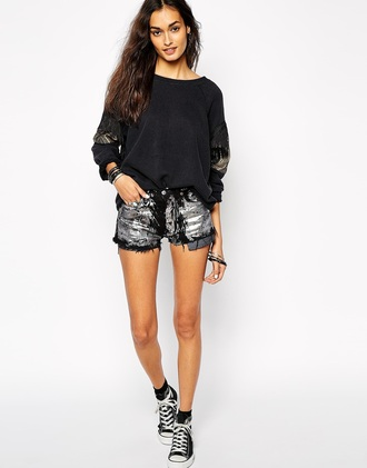 top sweater milk it vintage asos vintage fadded converse shorts pattern sleeves