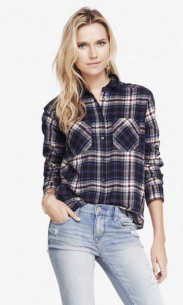 Plaid convertible sleeve boyfriend shirt