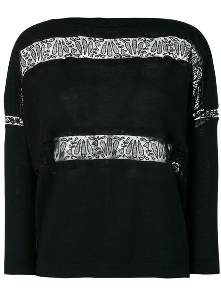 Ermanno Scervino jumper women lace cotton black wool sweater