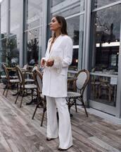 pants,blazer,wide-leg pants,white pants,white blazer
