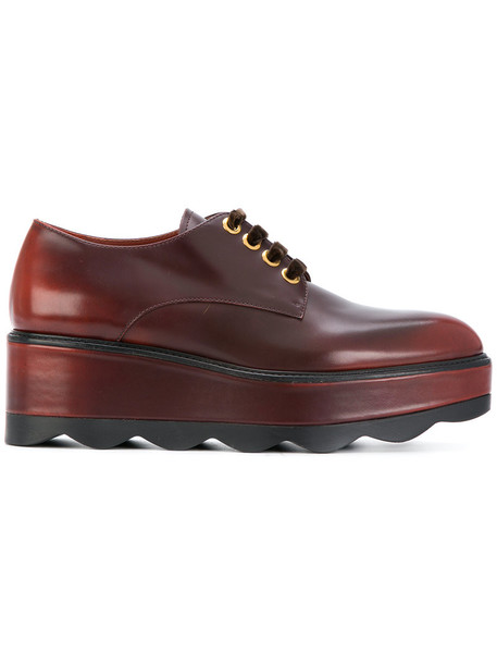 Prada women shoes lace-up shoes lace leather brown