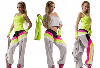 jumpsuit 4 in 1 workout pants sportswear crop tops cropped crop sweatpants tracksuit t-shirt shirt band t-shirt yellow pink grey multi colored neon gloves nike