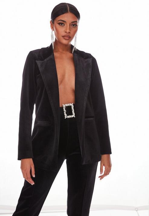 Black Co Ord Velvet Oversized Blazer