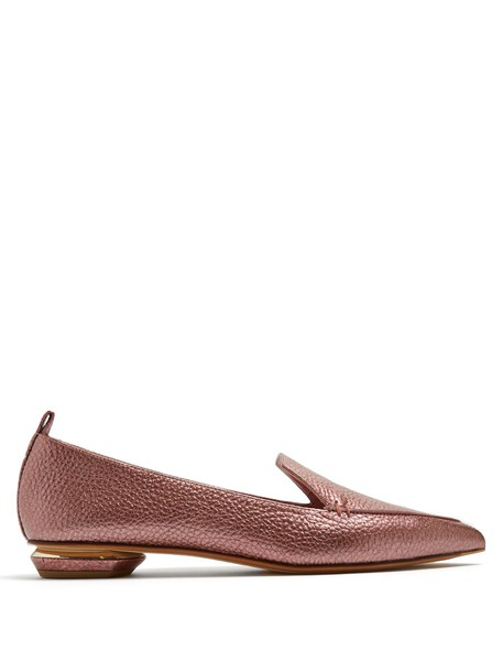 Nicholas Kirkwood loafers leather dark pink shoes