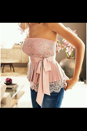 dress,blouse,cute,lovely,pink,princess,shirt,summer,tank top,clothes,strapless,tube top,pretty,sequins,cute top,classy,top,classy girls wear pearls,bow top,pink lace