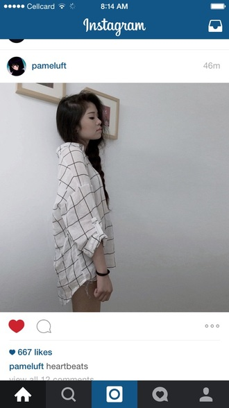 shirt black and white checkered oversized