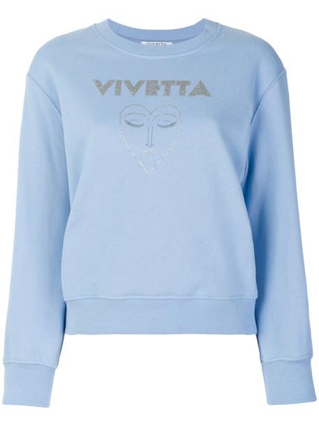 sweatshirt women cotton blue sweater