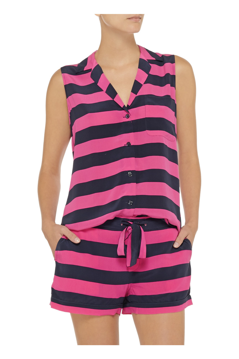 Equipment Keira striped washed-silk top – 65% at THE OUTNET.COM