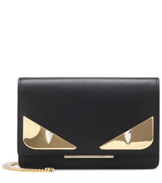 Fendi Wallet on Chain leather shoulder bag in black
