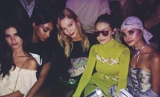 dress karlie kloss gigi hadid paris fashion week 2016 model off-duty taylor hill sara sampaio instagram jourdan dunn bustier top