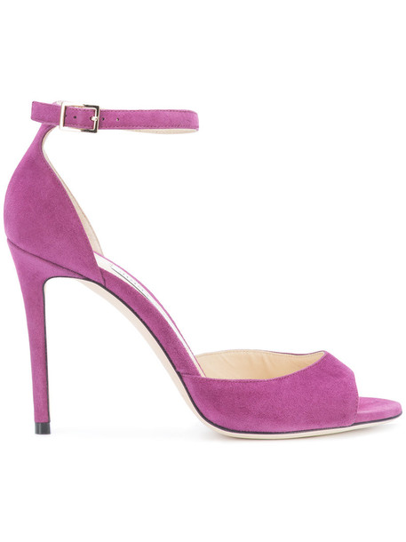 Jimmy Choo women 100 sandals leather suede purple pink shoes