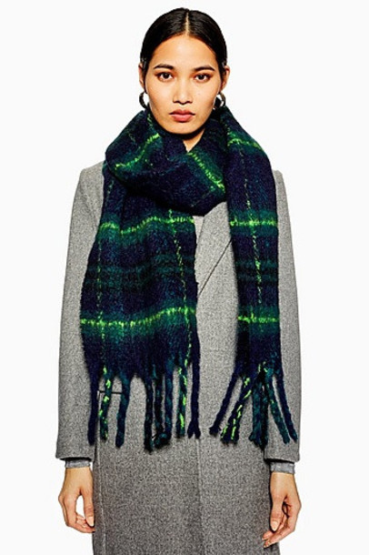 TopShop Heavy Black Watch Check Scarf - Navy Blue