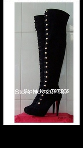 shoes,black suede thigh high boots,button up,studded shoes