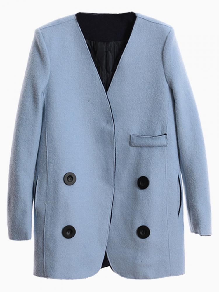 Blue Double Breast Blazer | Choies