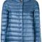 Herno - high neck puffer jacket - women - cotton/feather down/polyamide/viscose - 46, blue, cotton/feather down/polyamide/viscose