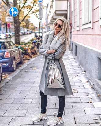 coat bag metallic bag silver bag ted baker grey fur collar coat metallic sneakers nike nike shoes grey sneakers sunglasses