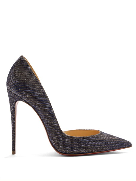christian louboutin glitter pumps leather blue shoes