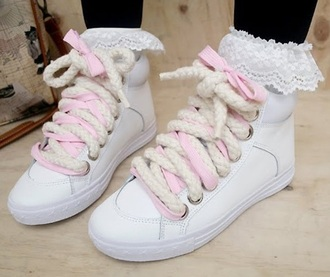 shoes white white shoes basket rope pink tumblr pastel colours pastel kitchie cute kawaii black
