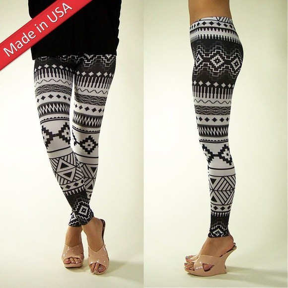 aztec tribal pattern black and white leggings tights bottoms geometric