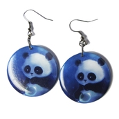 jewels,ziz earrings,ziz,disc earrings,panda earrings,panda,blue