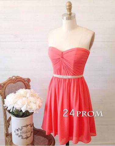 Simple sweetheart neck coral short prom dress, bridesmaid dress - 24prom