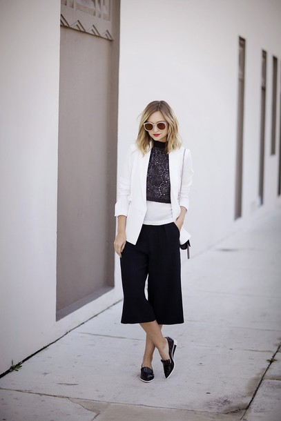 late afternoon blogger sunglasses loafers culottes blazer black and white lace top black culottes
