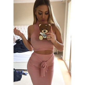 dress blush two-piece pink skirt top cute tammyhembrow pink dress knitted dress pink skirt flawless pink top instagram crop tops maxi skirt