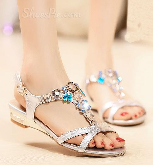 Concise Genuine Leather Rhinestone Flat Sandals