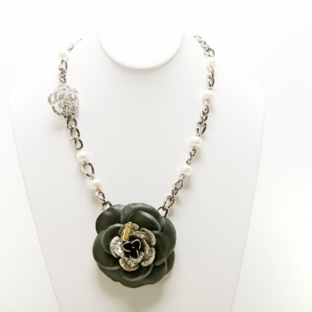 """""""Miss S"""" Black Suede Flower Necklace 