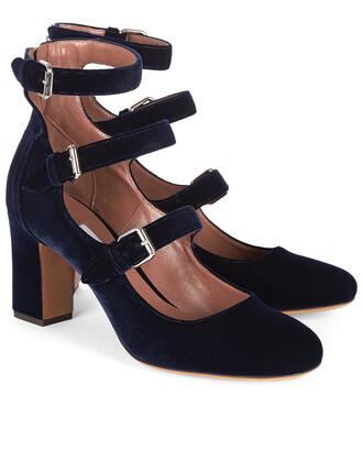heels blue velvet shoes