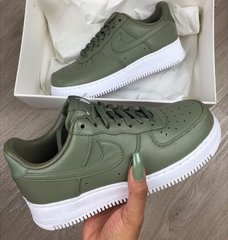 shoes nike airforce 1 green olive green pretty cute white tumblr