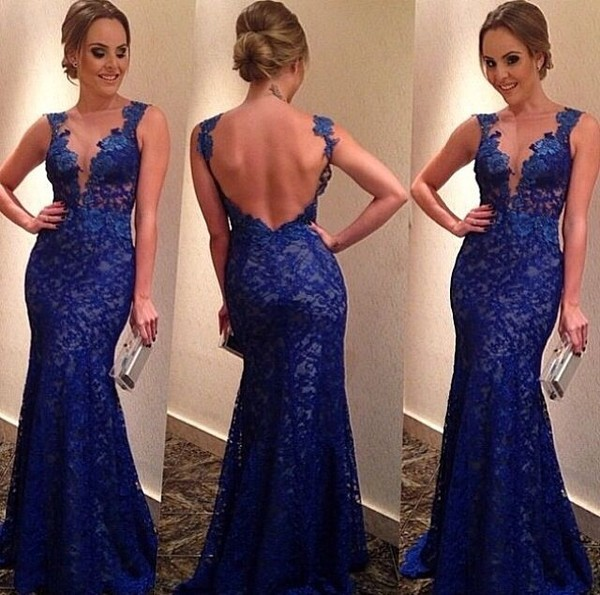 dress royal blue lace dress sheer tulle top mermaid backless long evening dress hat blue prom dress backless open back blue dress blue lace lace prom prom formal formal dress backless prom dress prom dress graduation blue lace backless dress