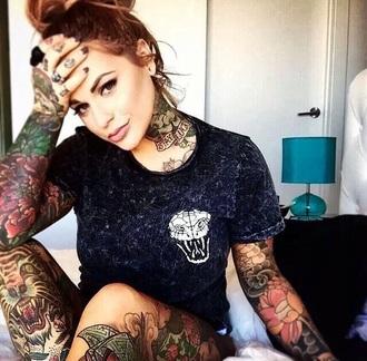 t-shirt black white acid wash grunge alternative tattoo