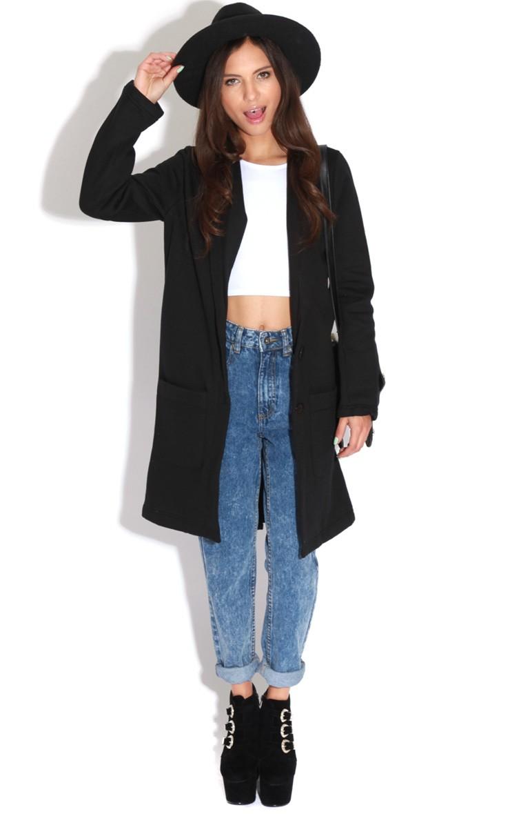 Black Long Blazer - blazer - coats jackets - prettylittlething ...