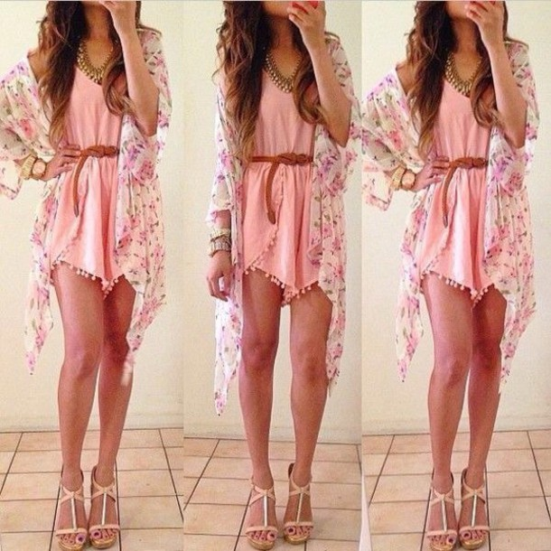 cardigan romper pink romper with floral overcoat blouse