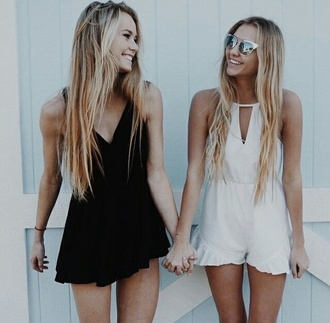 romper black and white boho hippie beach pretty blonde hair outfit girls clothes style
