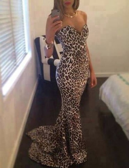 leopard print dress leapord maxi print gold train hot fashion in style bodycon dresses