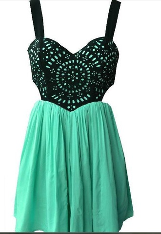 dress black green cut-out short mini