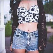 shirt,black and white,zip up,zip,bandeau,tank top,floral,white floral,daisy,t-shirt,belly t-shirt,shorts,flowers,black,white,jeans,mini shorts,summer outfits,sexy,jacket