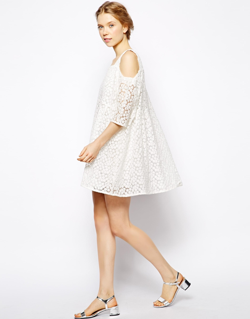 Little White Lies Off Shoulder Smock Dress In Daisy Lace at asos.com