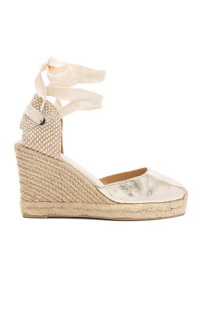 Soludos metallic gold shoes