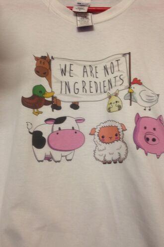 t-shirt friendsnotfood white t-shirt animals cute shirt vegan vegetarian love freedom
