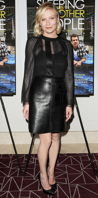 blouse leather leather skirt kirsten dunst all black everything pumps black leather skirt mesh top