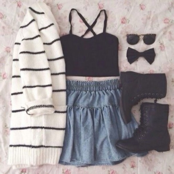 cardigan shirt skirt shoes hair accessory sunglasses